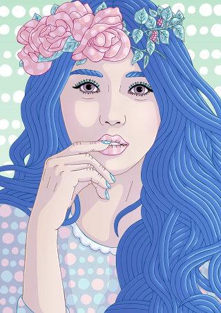 Fashion portrait of woman wearing flower crown