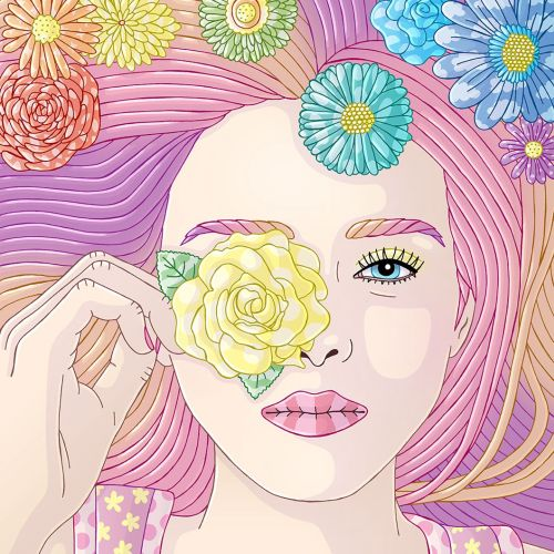 Fashion drawing of blossoming woman