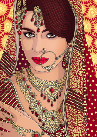 Beauty Illustration Of Indian Bride