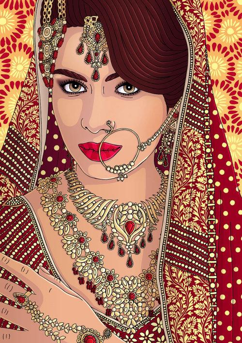 Ilustração da beleza da noiva indiana