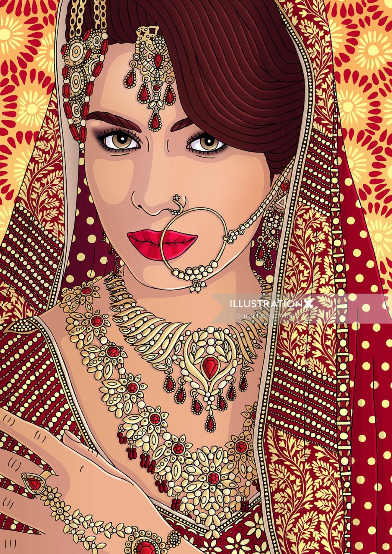 Beauty Illustration Of Indian Bride