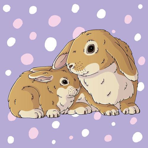 Arte gráfica peluches dos coelhos