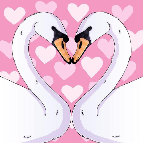 Pintura bonita das cisnes do amor