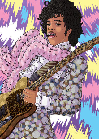 An illustration of prince playing guitar