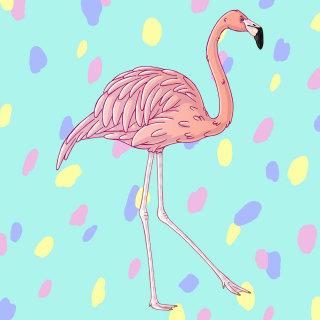 Fun & vibrant artwork of a flamingo