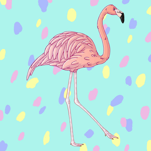 Fun & vibrant artwork of a flamingo