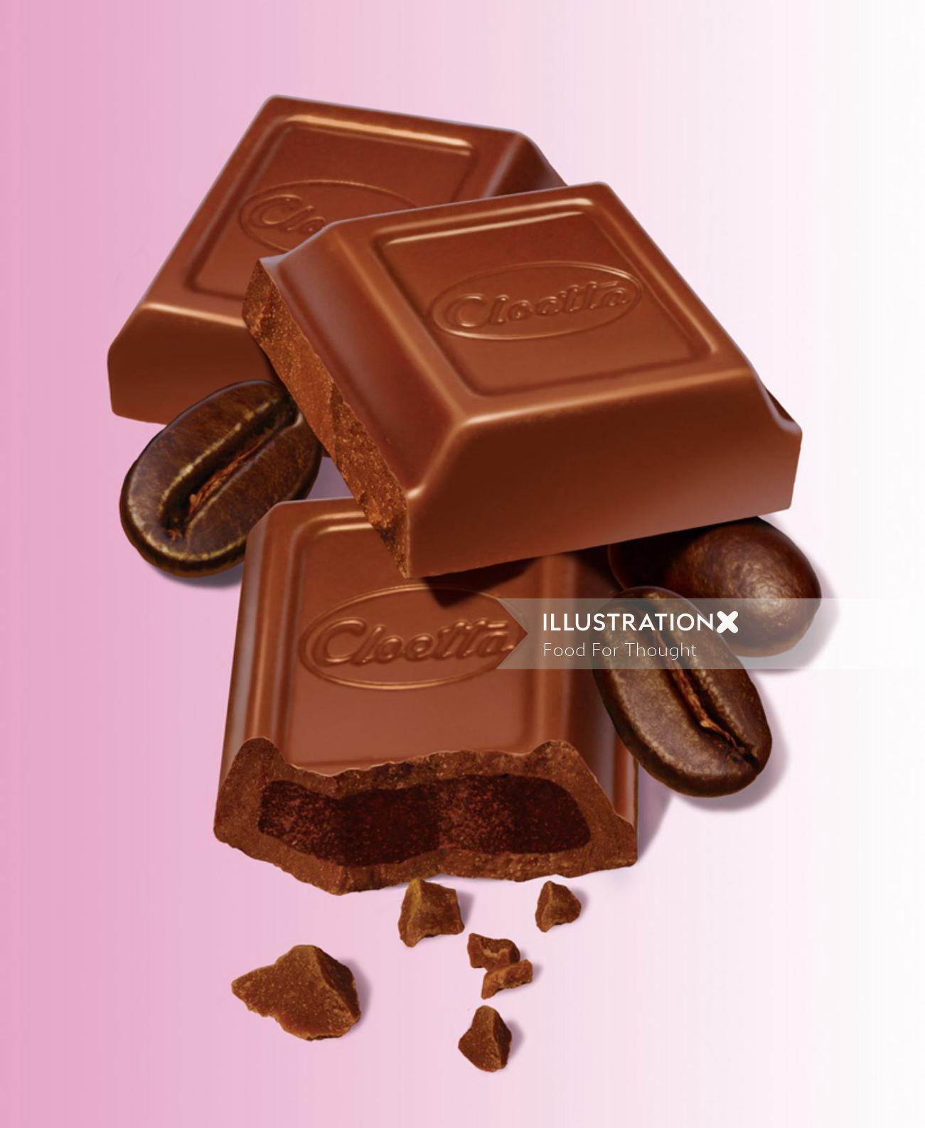3D / CGI Rendering cloetta chocolate