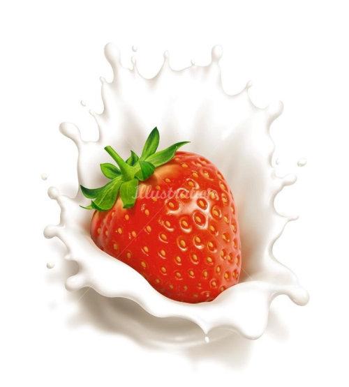 饮食草莓牛奶