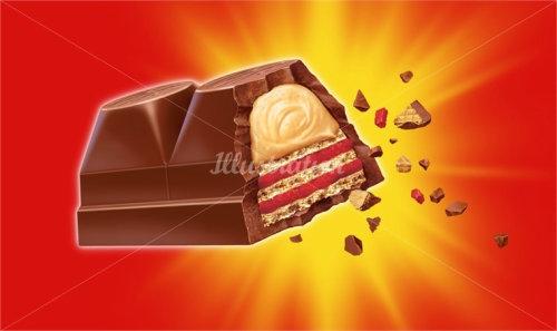 Tablette de chocolat cassée générée par ordinateur