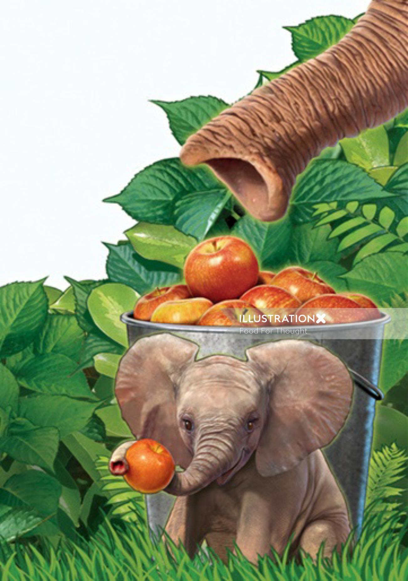 3d Elephant with Apples
