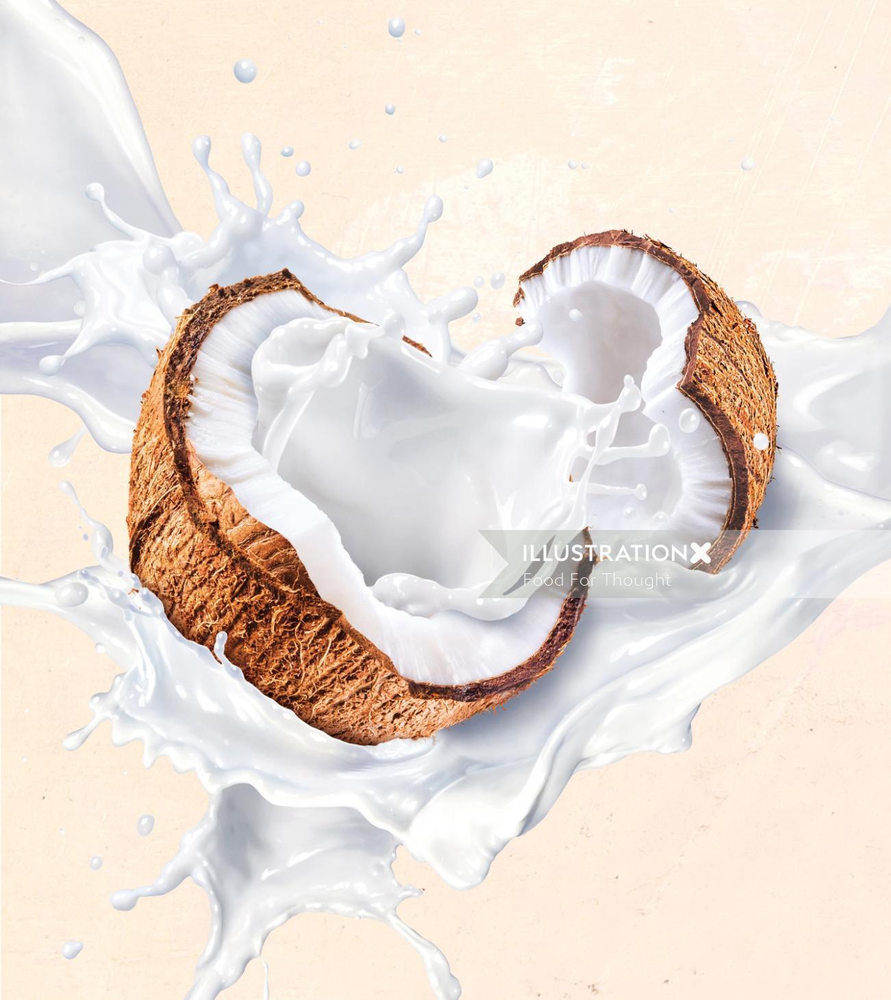 Packaging illustration  for Australia's Own coconut milk