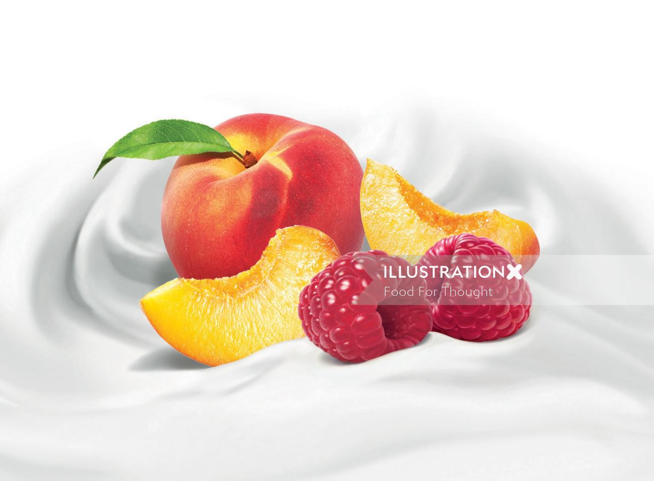 Front of pack art for Glenisk yogurt and fruits