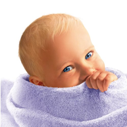 Blue eyed baby wrapped in towel