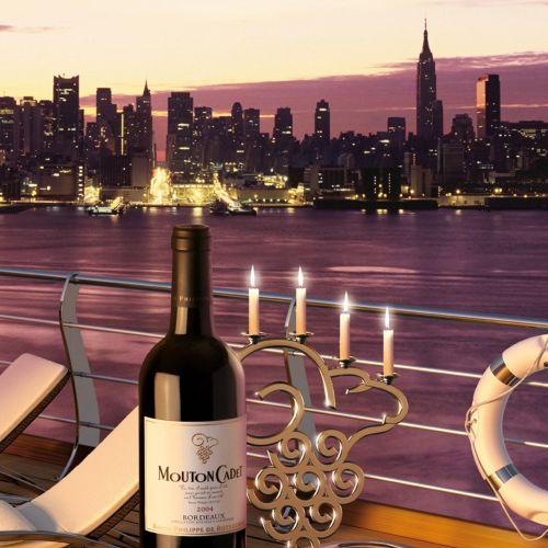 Mouton Cadet wine bottle on ship