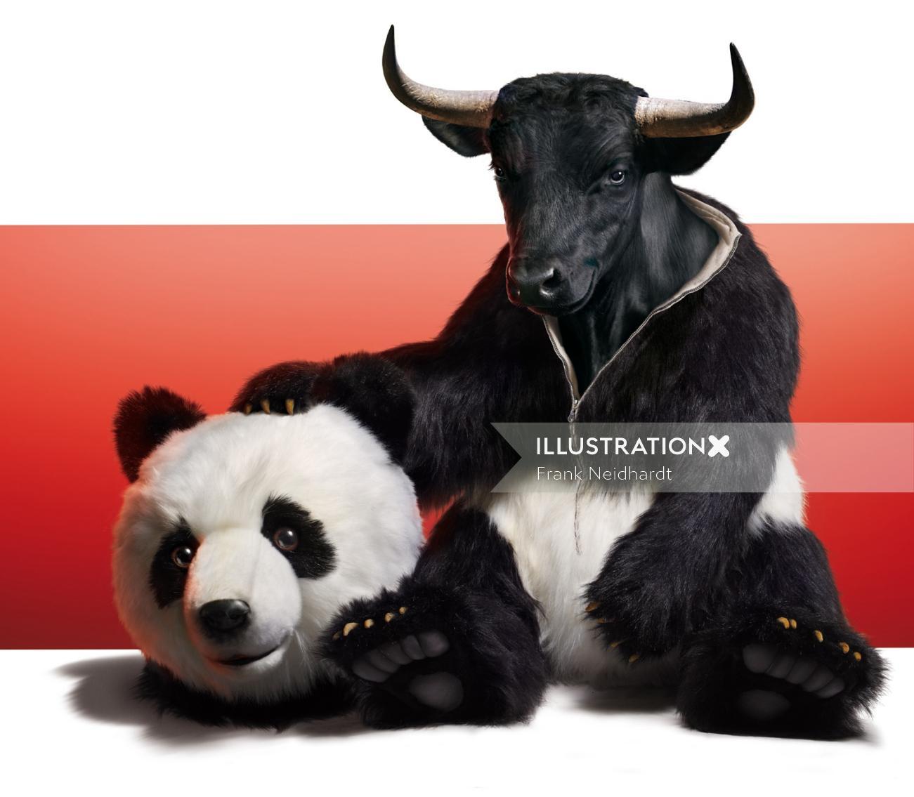 Bull with Panda face