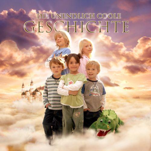 Kids standing in cloud