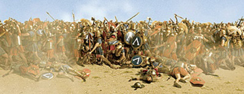 Fight of Spartan and Romans