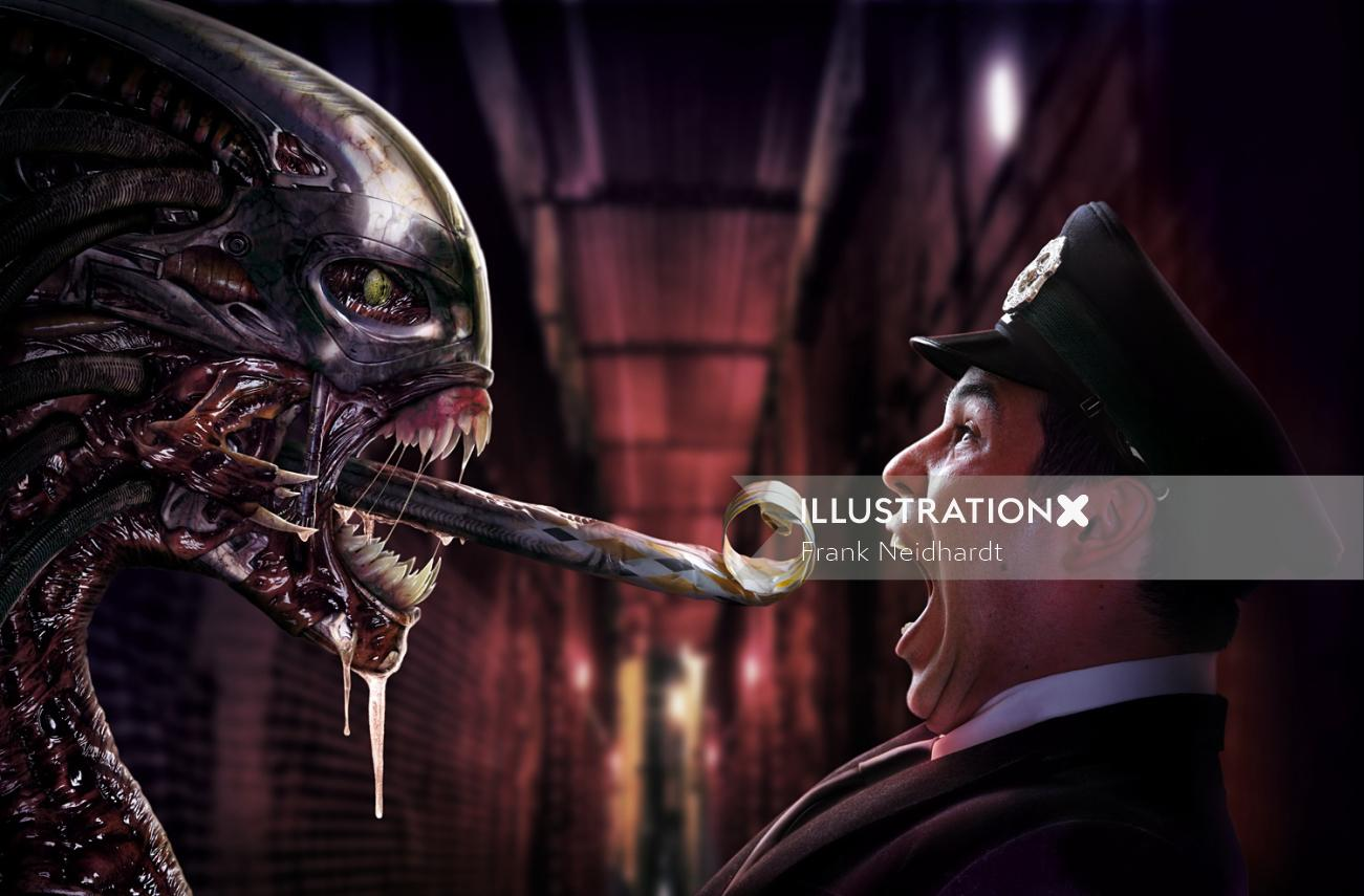 Scary Alien and frightened cop