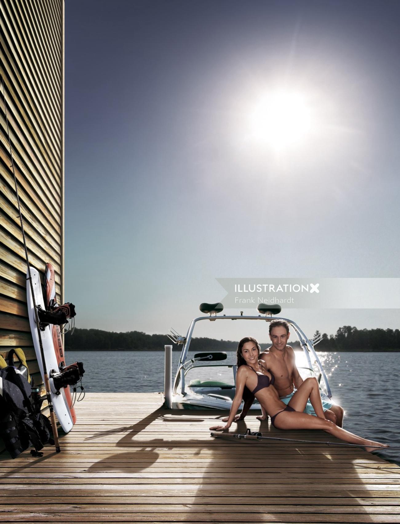 Couple sitting at beach deck