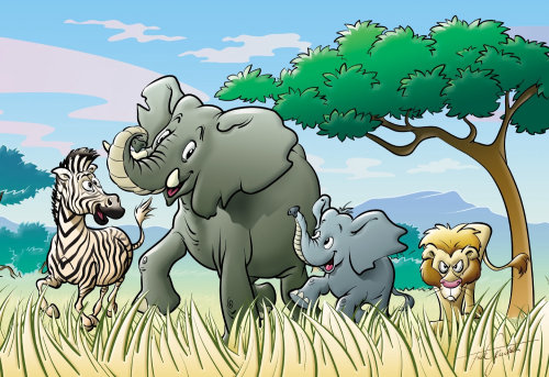 animales elefantes y cebras en savannah