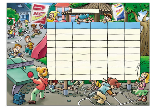 cartoon illustration of school timetable