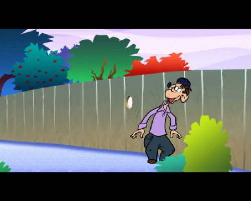 Cartoon animation of boy and fence