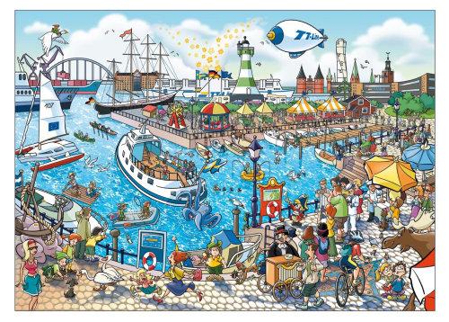 Vista gráfica de la escena del puerto ilustrada por Fred Gemballa