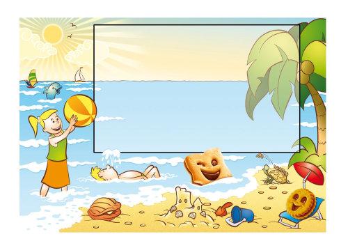 Ilustración de línea de Summer Scene para vacaciones por Fred Gemballa