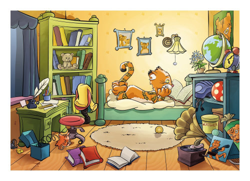 Tiger relaxing illustration for children book