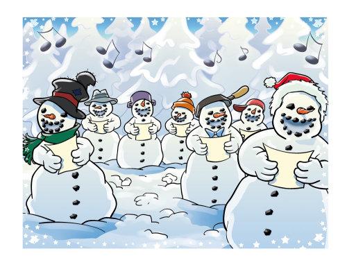 Ilustración de muñecos de nieve cantando