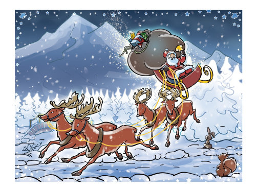 Fantasy illustration of Santa with reindeers