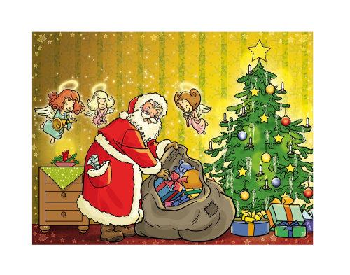Ilustración de Santa con ángeles