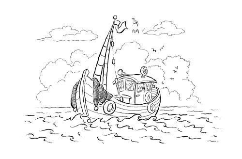 Ilustración en blanco y negro del barco de pesca