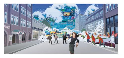 Desenhos animados e humor neve na cidade