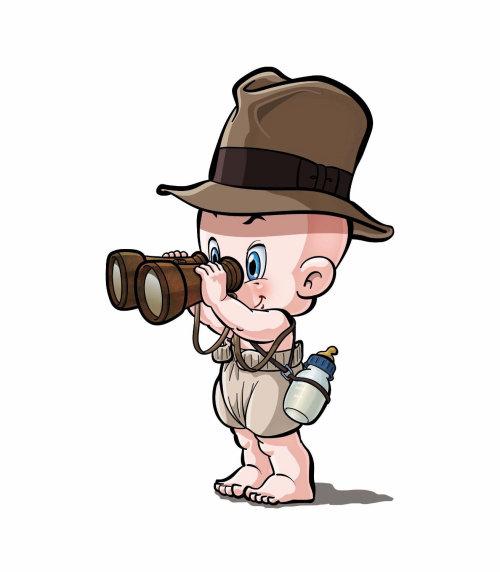 Desenhos animados e humor assistindo bebê