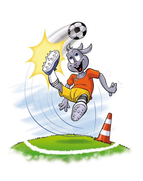 Coelho de desenho animado e humor jogando futebol