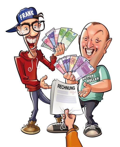 Desenhos animados e humor pessoas com dinheiro