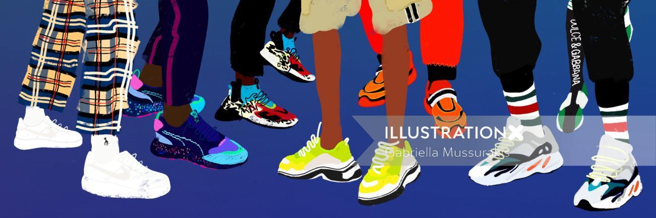 Fashion illustration of shoes