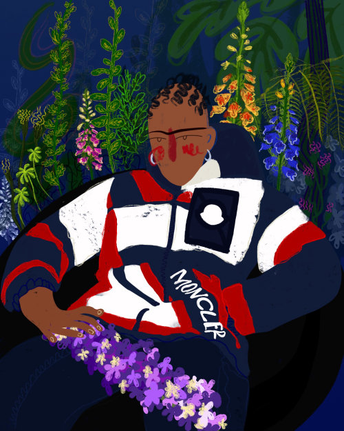 Illustration of Shaquille-Aaron Keith wearing moncler company dress