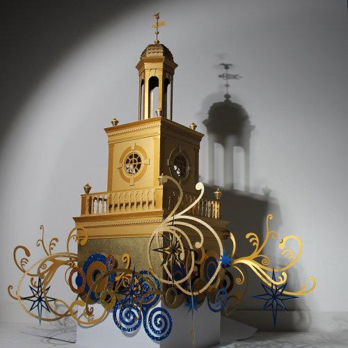 artesanía de construcción de oro para adorno de árbol de Navidad