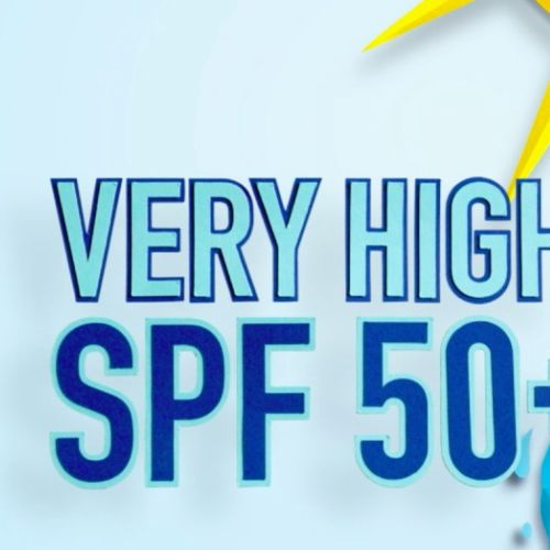 Lettering art of very high spf 50+