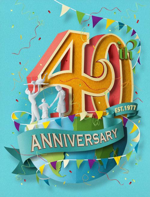 Corte de papel del 40 aniversario