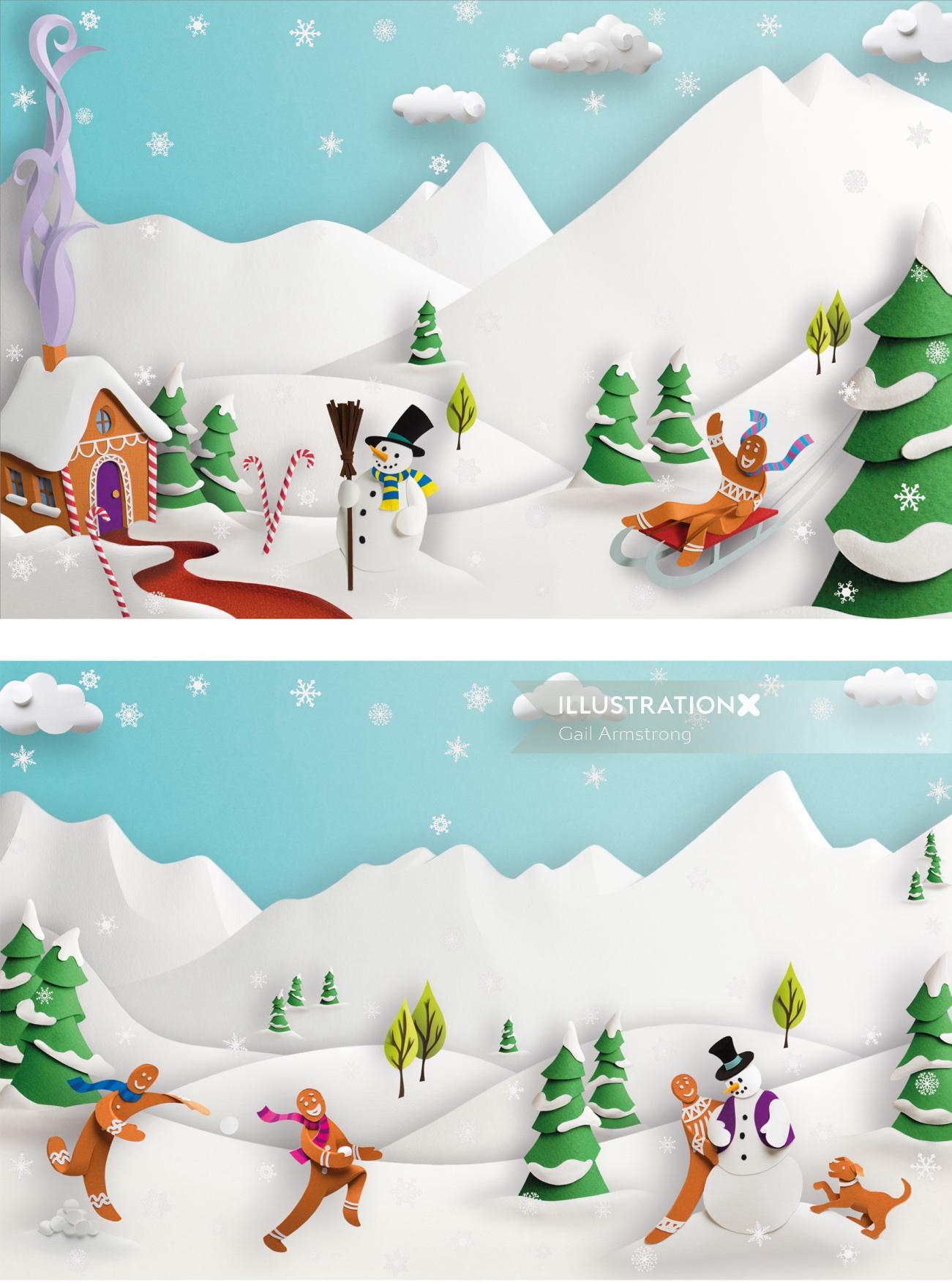 Snowman and Christmas season paper art illustration