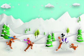 people and Winter landscape with Paper folding art