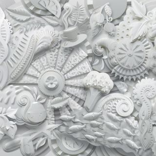 Pattern created from plants, fish, faces and science