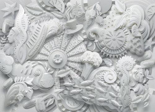 Patrón creado a partir de plantas, peces, caras y ciencia.