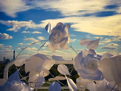 Ilustración de la naturaleza de rosas de papel blanco