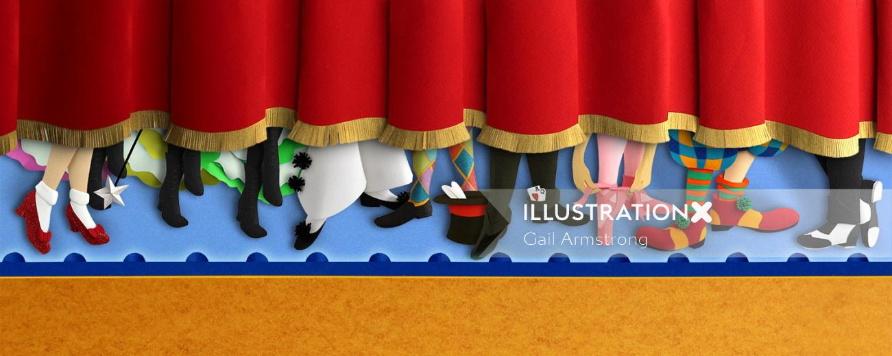 Characters on stage paper art