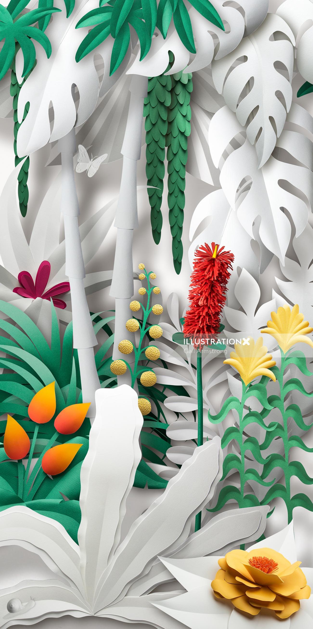 Nature Illustration of garden