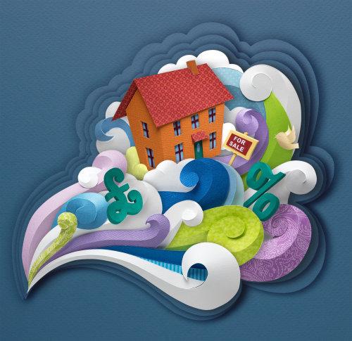 Ilustración editorial de casa en venta en la tormenta del mercado inmobiliario